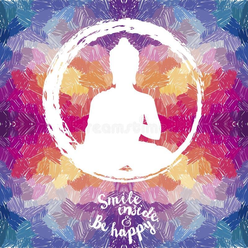 Plakat mit Buddha-Schattenbild auf künstlerischem Hintergrund lizenzfreie abbildung
