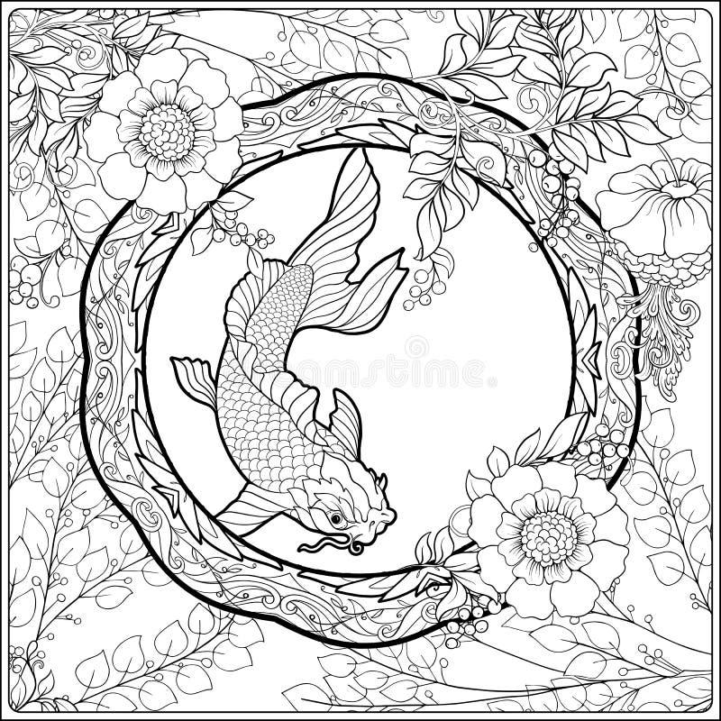 Plakat mit dekorativen Blumen und Karpfen fischen in der Jugendstilart Seite für das erwachsene Malbuch vektor abbildung