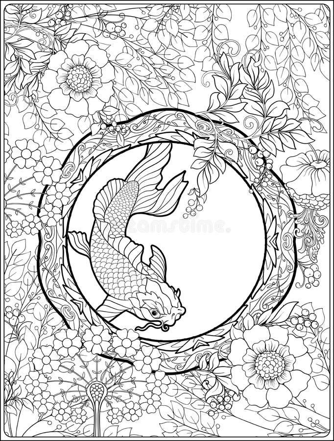 Plakat mit dekorativen Blumen und Karpfen fischen in der Jugendstilart Seite für das erwachsene Malbuch stock abbildung