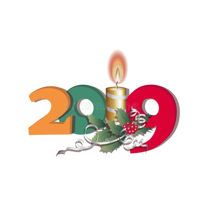 Plakat mit einer Kerze, Bändern, Blättern, Stechpalmenbeeren und der Aufschrift 2019 Glückliches neues Jahr lizenzfreie abbildung