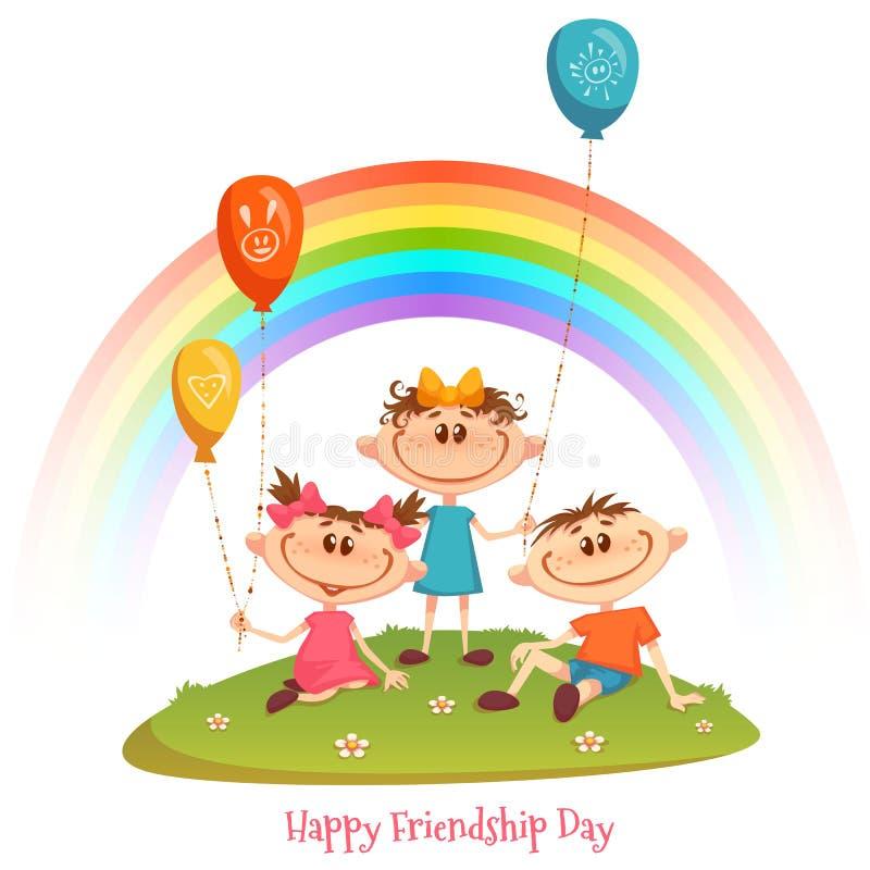 Plakat mit Freundschafts-Tagestitel und -kinder, Regenbogen, Blume und Ballone Auch im corel abgehobenen Betrag vektor abbildung