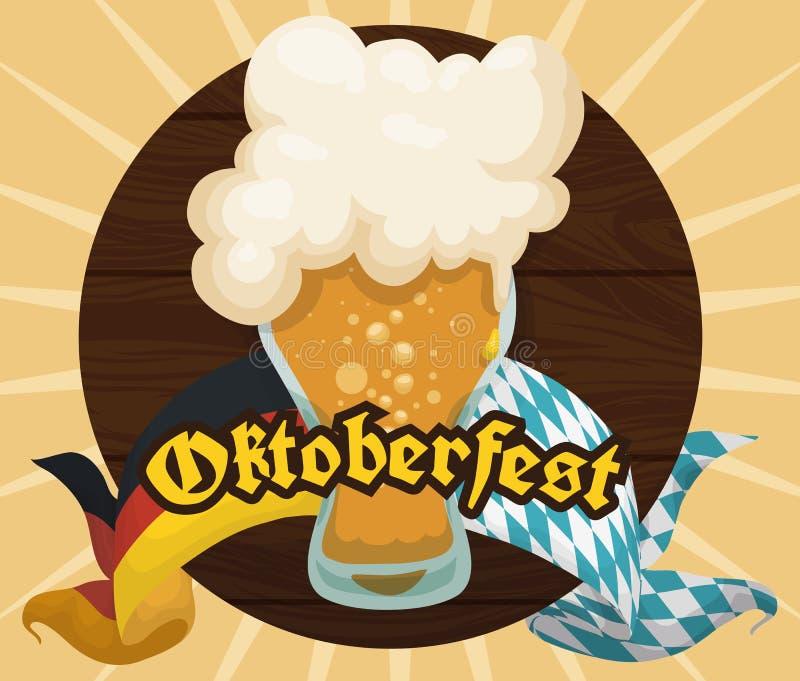 Plakat mit hölzernem Hahn und schaumiges Bier für Oktoberfest-Feier, Vektor-Illustration vektor abbildung