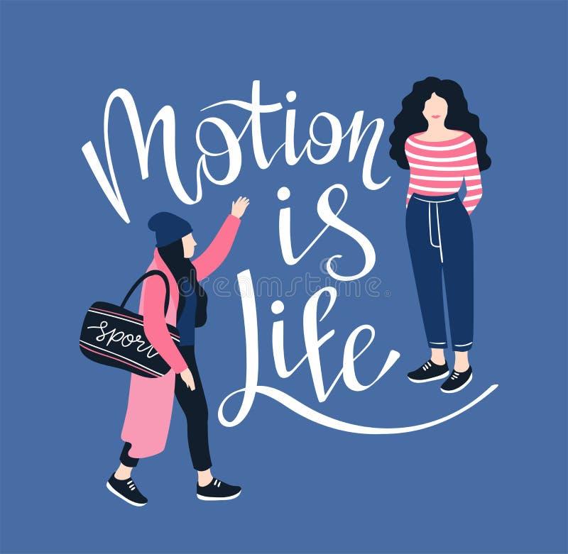 Plakat mit handgeschriebener Beschriftung ` Bewegung ist Leben ` Hintergrund mit recht jungen Frauen Auch im corel abgehobenen Be stock abbildung