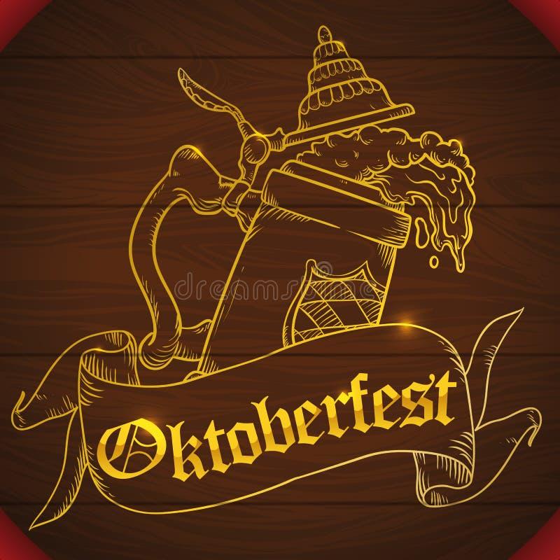 Plakat mit Holz geschnitzten Stein Beer Design für Oktoberfest, Vektor-Illustration stock abbildung