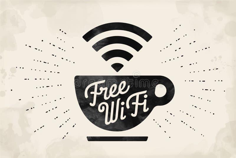 Plakat mit Tasse Kaffee und Text geben WiFi frei vektor abbildung