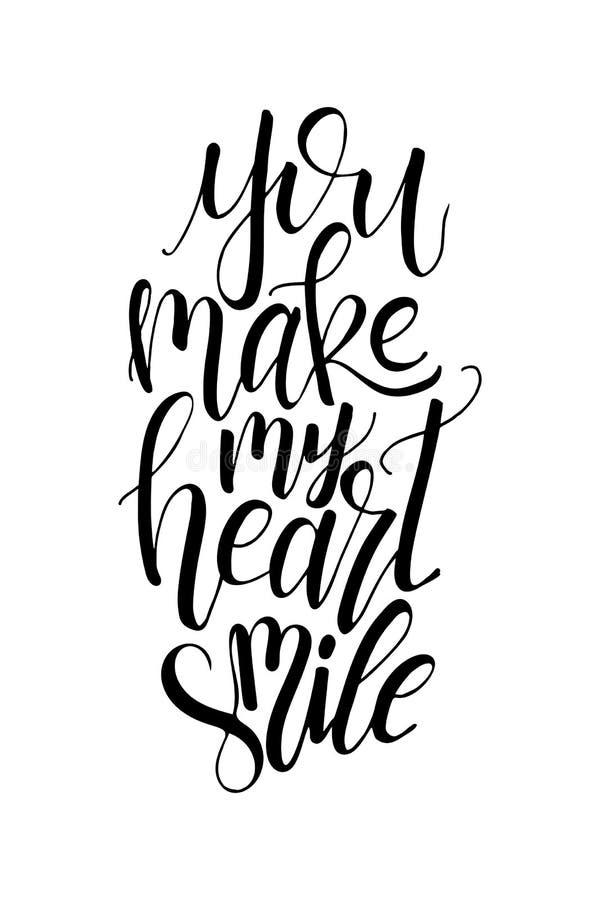Plakat mit typografischem Zitat Handbeschriftungspostkarte Tintenvektorillustration Sie lassen mein Herz lächeln lizenzfreie abbildung