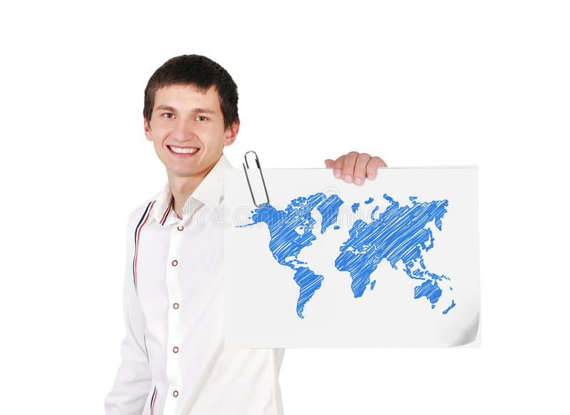 Plakat mit Weltkarte stock abbildung