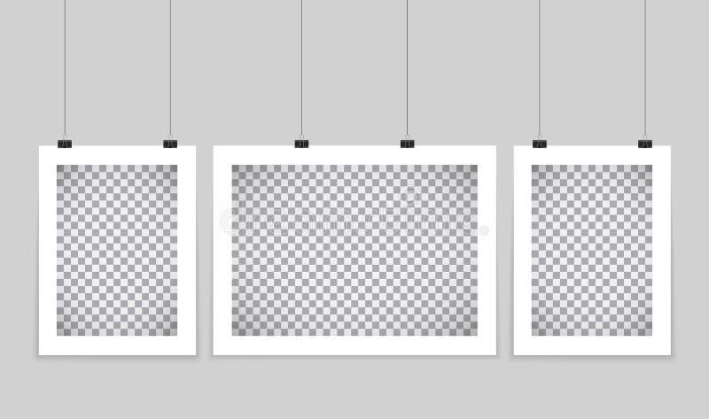 Plakat-Modell Vector das scheinbare hohe Hängen des leeren Papiers am Büroclip Papiergalerie eingestellt auf weißen Hintergrund vektor abbildung