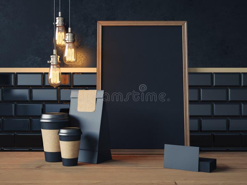 Plakat na drewnianym stole z pustymi czarnymi elementami zdjęcie stock