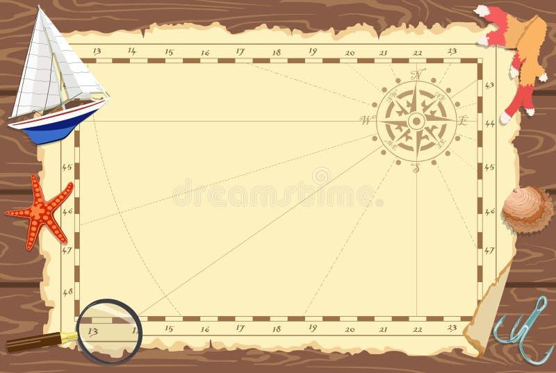 Plakat na temacie żołnierz piechoty morskiej lub oceanu klub mapa również zwrócić corel ilustracji wektora ilustracja wektor