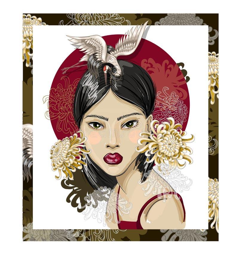 Plakat oder Designt-shirt mit japanischem Modemädchen, -kränen und -blumen Auch im corel abgehobenen Betrag vektor abbildung
