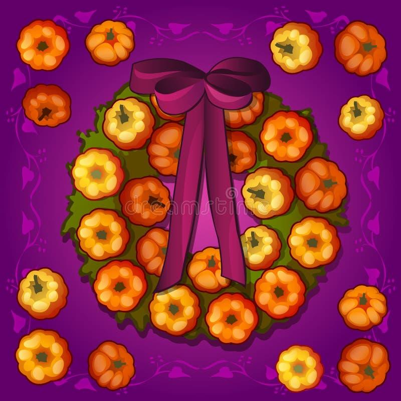 Plakat- oder Postkartenart Halloween-Feiertag Runder Kranz mit Verzierungen in Form von reifen Miniaturkürbisen und vektor abbildung