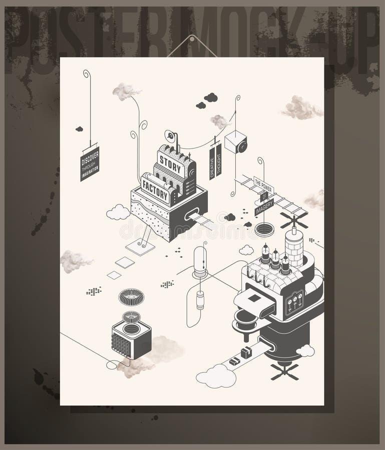 Plakat opowieści fabryka ilustracja wektor