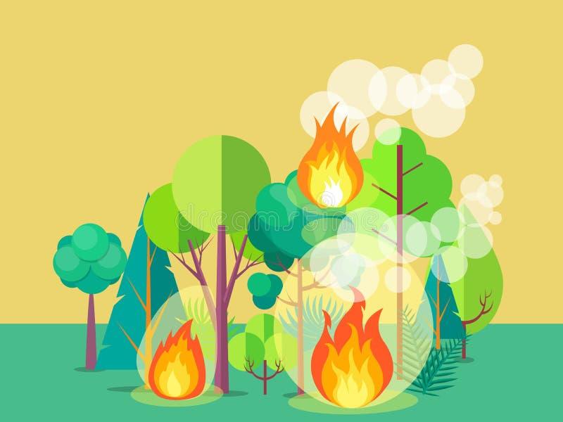 Plakat Przedstawia Rozszalałego pożar lasu ilustracji