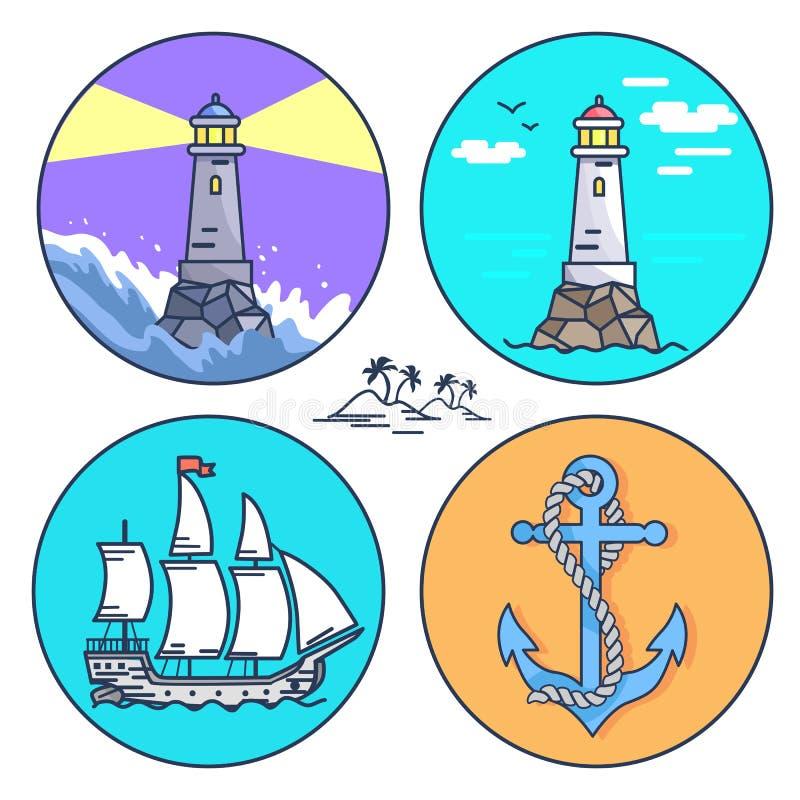 Plakat Przedstawia set ikony i Mała wyspa ilustracja wektor