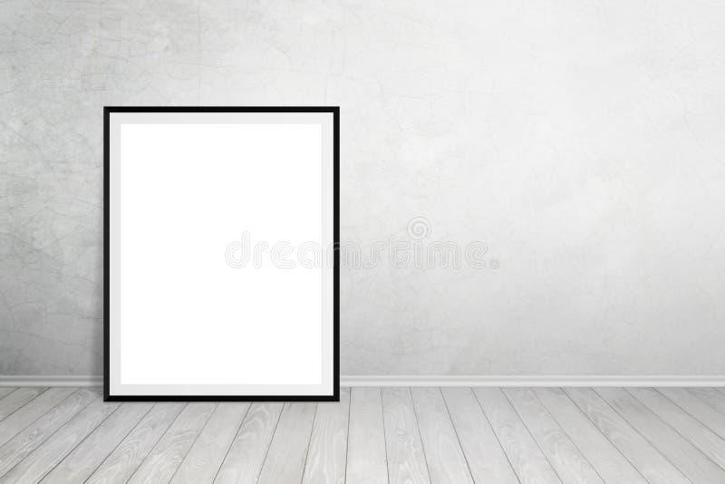 Plakat rama opierał na ścianie z bezpłatną przestrzenią dla teksta obraz stock