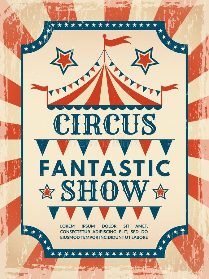 plakat retro Zaproszenie dla cyrkowego magicznego przedstawienia royalty ilustracja