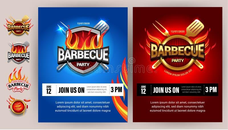 Plakat-Schablonendesigne BBQ 2colorful, Parteidesign, Einladung, Anzeigendesign Grilllogo Bbq-Schablonenmenüdesign Grill Foo lizenzfreie abbildung