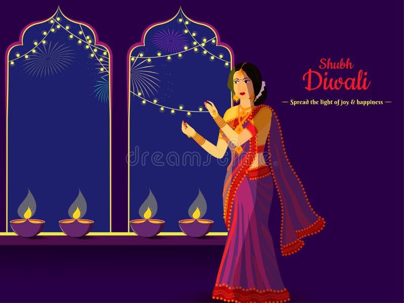 Plakat Shubh Diwali lub baner z ilustracją młodej damy ozdobionej lampą olejową ilustracji