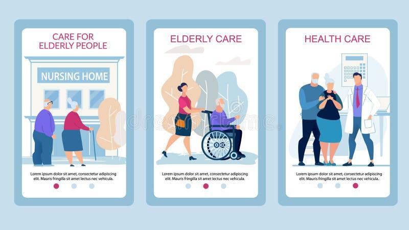 Plakat-Sorgfalt für ältere Menschen flach annoncieren vektor abbildung