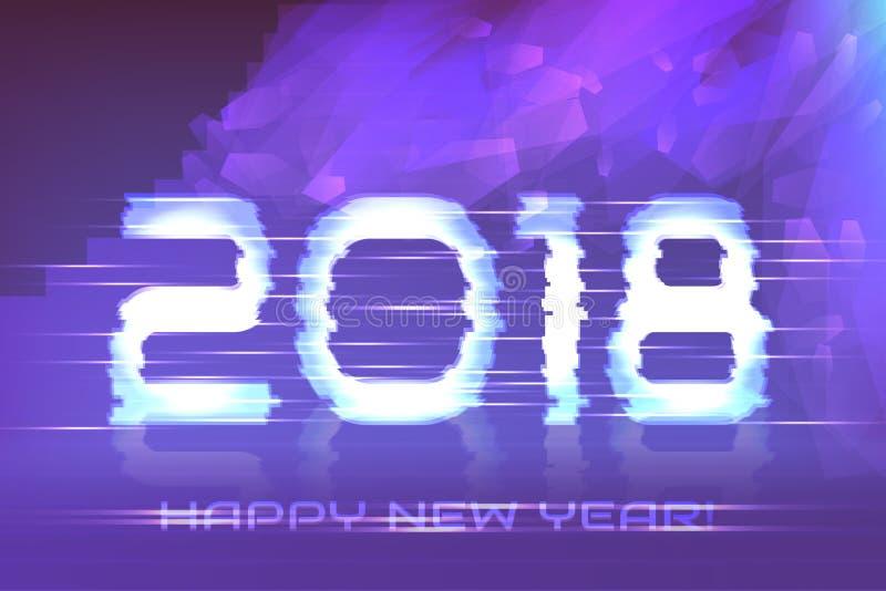 Plakat Szczęśliwy nowy rok! Cyber 2018 ilustracji