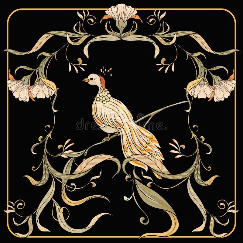 Plakat, tło z dekoracyjnymi kwiatami i ptaki w sztuki nouveau, projektujemy royalty ilustracja