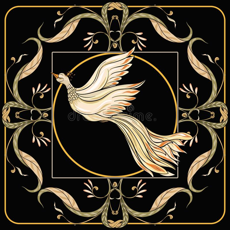 Plakat, tło z dekoracyjnymi kwiatami i ptaki w sztuki nouveau, projektujemy ilustracji