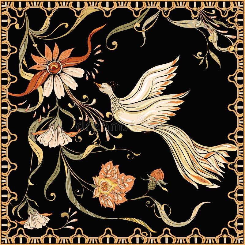 Plakat, tło z dekoracyjnymi kwiatami i ptaki w sztuki nouveau, projektujemy ilustracja wektor
