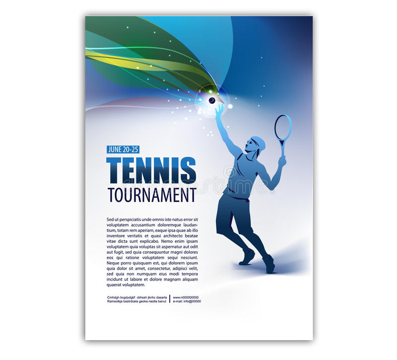 Plakat, ulotka w Retro stylu Gracz w tenisa tekst i tło obraz stock