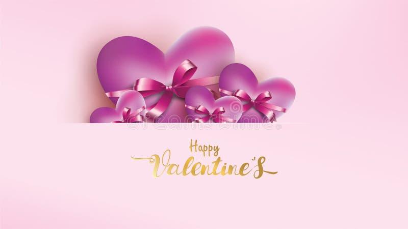 Plakat und Fahne mit Herzen und Beschriftung glücklicher Valentine Day auf rosa Hintergrund Tapetenliebeskonzept für Valentinsgru vektor abbildung