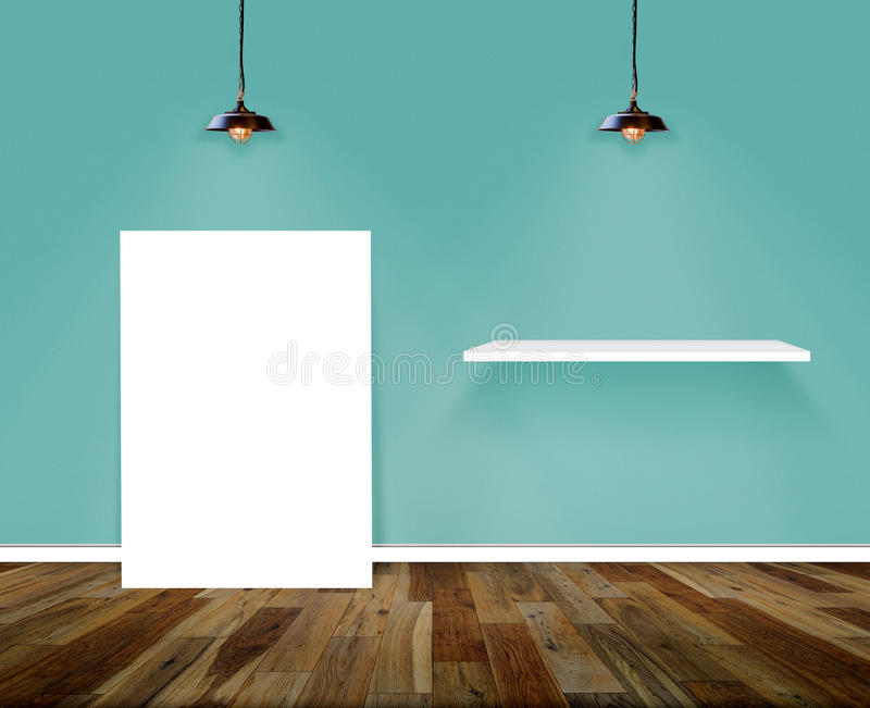 Plakat-und Regal-Raum Wand- und Bretterbodeninnenraumhintergrund lizenzfreies stockbild