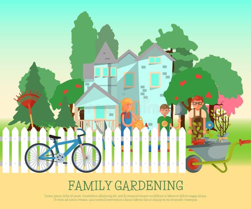 PLAKAT-Vektorillustration der glücklichen Familie Gartenarbeit Eltern und Kinder arbeiten nahe Haus, im Yard hinter Zaun Frau lizenzfreie abbildung