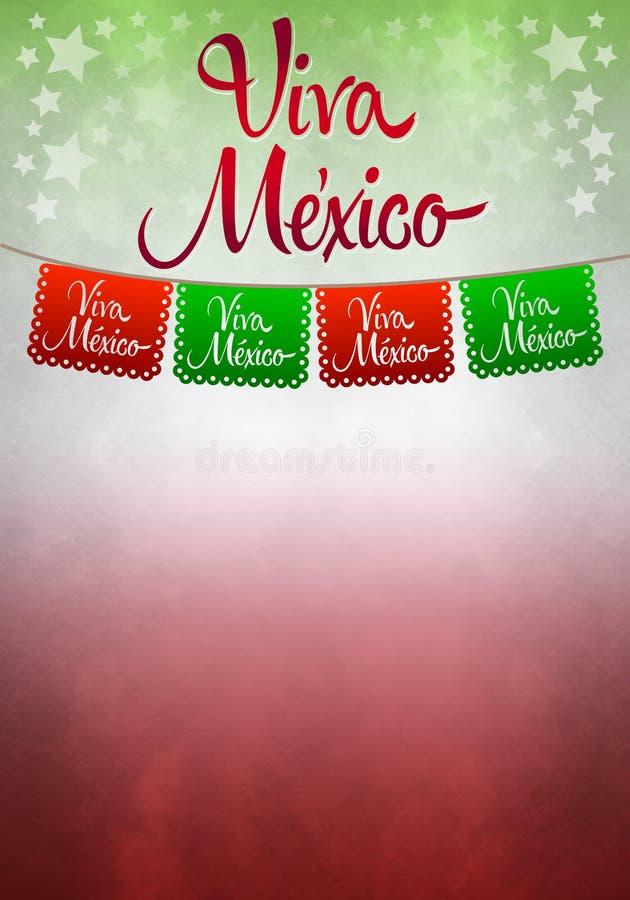 Plakat Viva Mexiko - mexikanische Papierdekoration lizenzfreie stockfotos