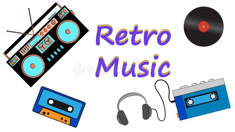 Plakat von der Vinylaufzeichnung, der Hippie-Filmmusik der alten Weinlese vom Retro- ersten Spieler und vom Magnetband- für Tonau lizenzfreie abbildung
