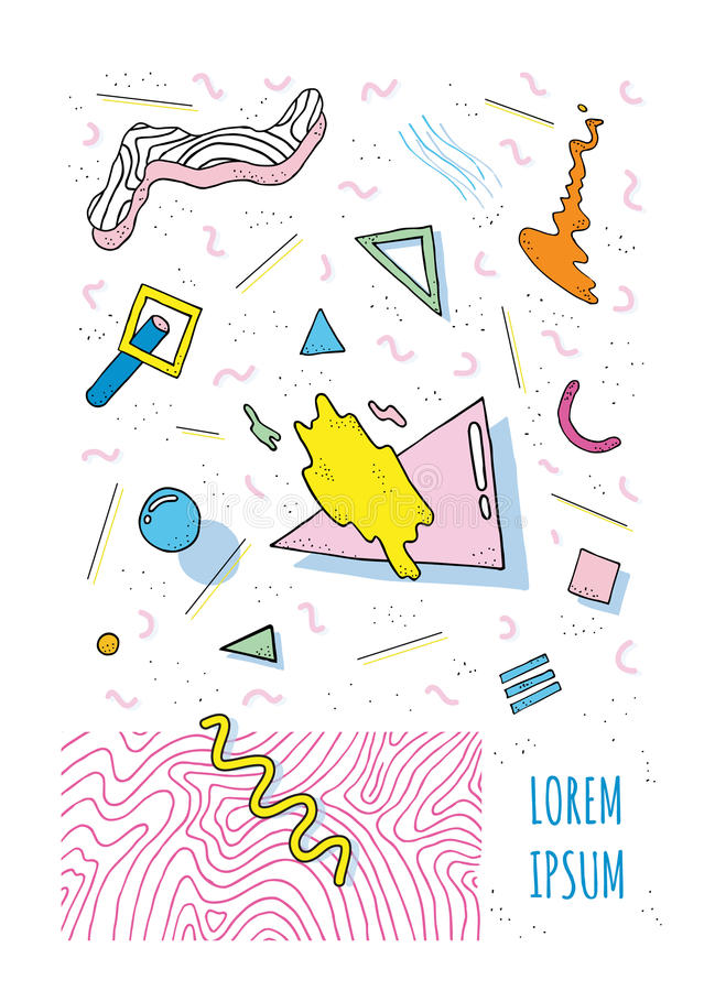 Plakat w Memphis stylu 80s-90s z geometrycznymi nowożytnymi kształtami Partyjny plakata szablon Wektorowa ilustracja, jaskrawy ko royalty ilustracja
