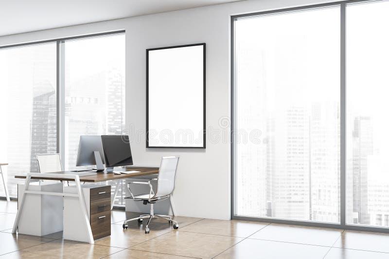 Plakat w pobliżu miejsca pracy w białych biurach ilustracja wektor