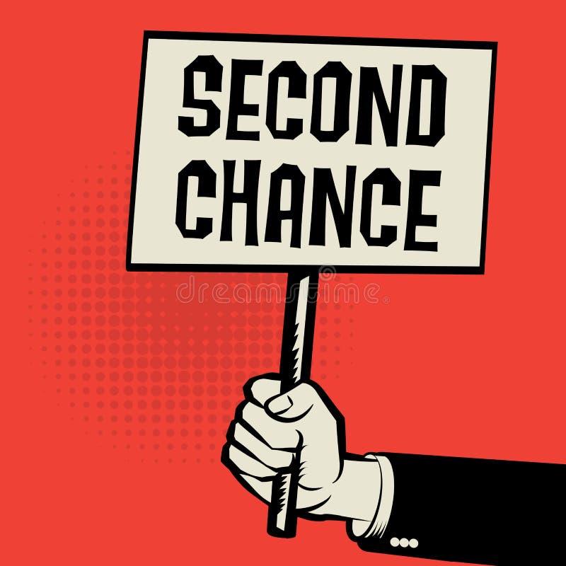 Plakat w ręce, biznesowy pojęcie z tekst drugą szansą ilustracja wektor