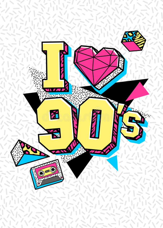 Plakat w 80s-90s Memphis stylu ilustracja wektor