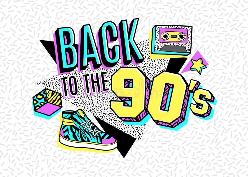 Plakat w 80s-90s Memphis stylu royalty ilustracja