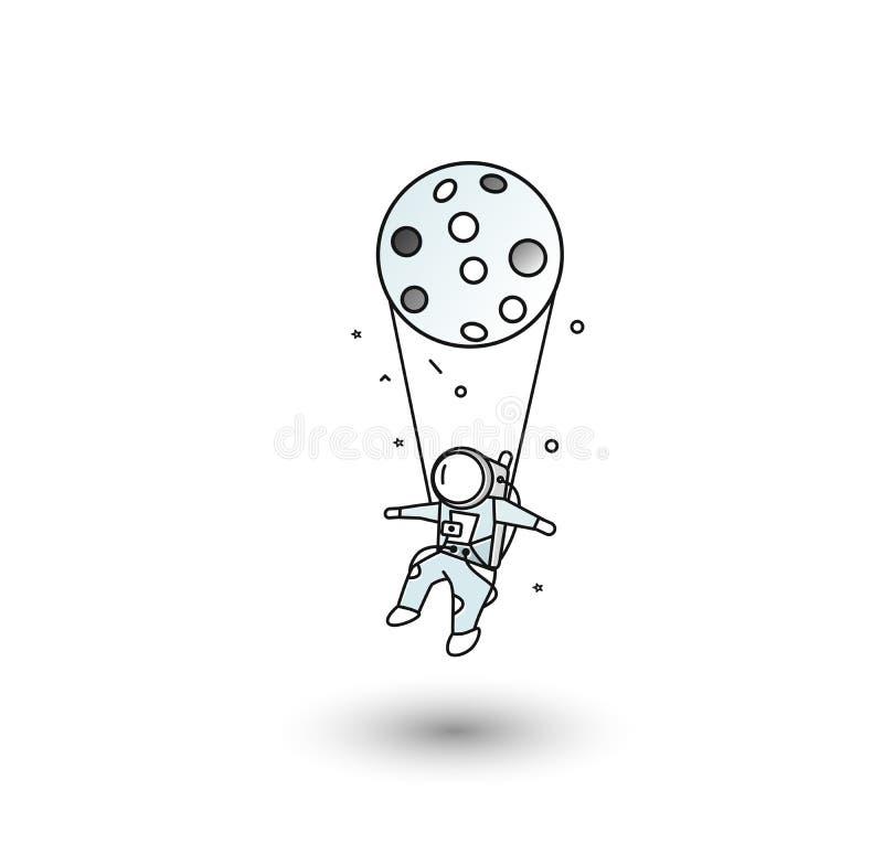 Plakat wiszących astronautów koncepcji muzycznej ilustracja wektor