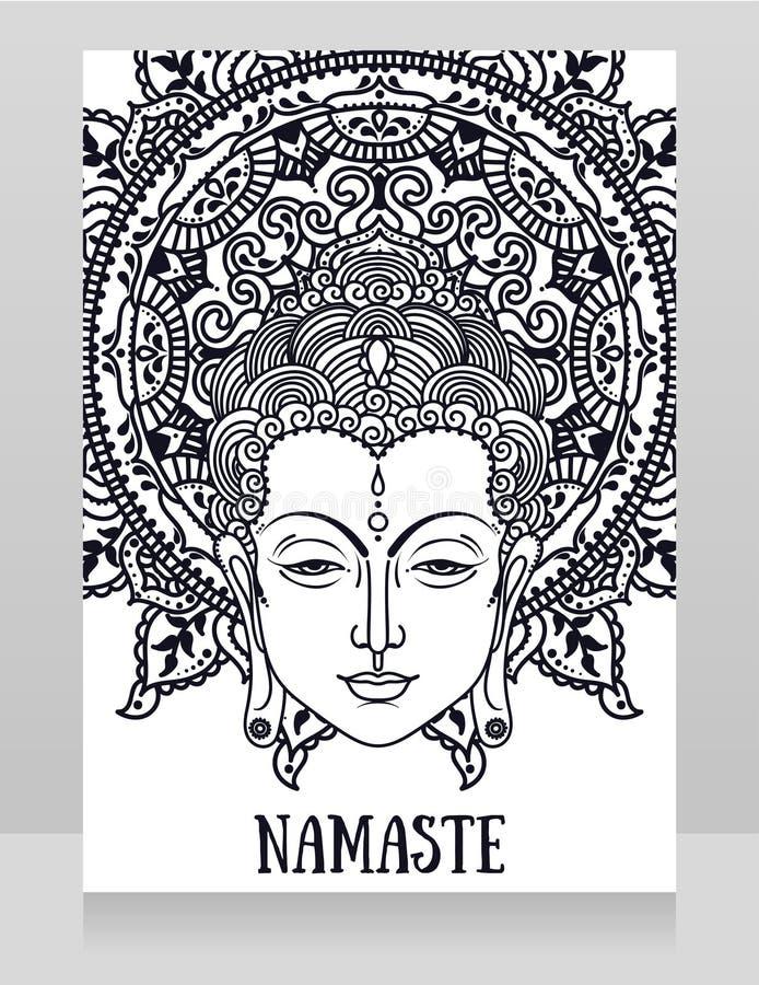 Plakat z Buddha kierowniczy i piękny mandala ilustracji