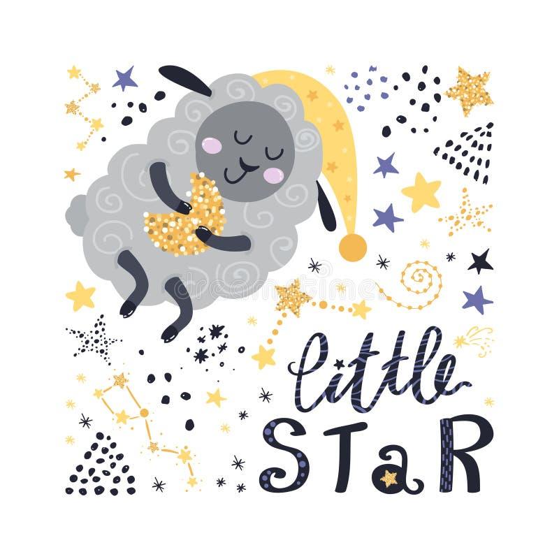 Plakat z caklami, gwiazdami i literowaniem, ilustracja wektor