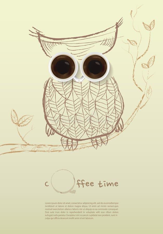 Plakat z filiżanką Wektor, sowy kawy pojęcie ilustracji