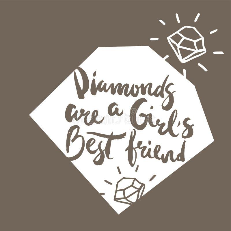 Plakat z kaligraficznymi zwrotów diamentami jest dziewczyny najlepszym przyjacielem ilustracji