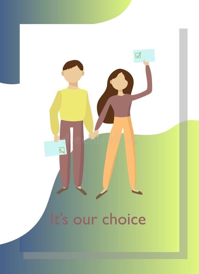 Plakat z ludźmi głosuje w wyborach royalty ilustracja