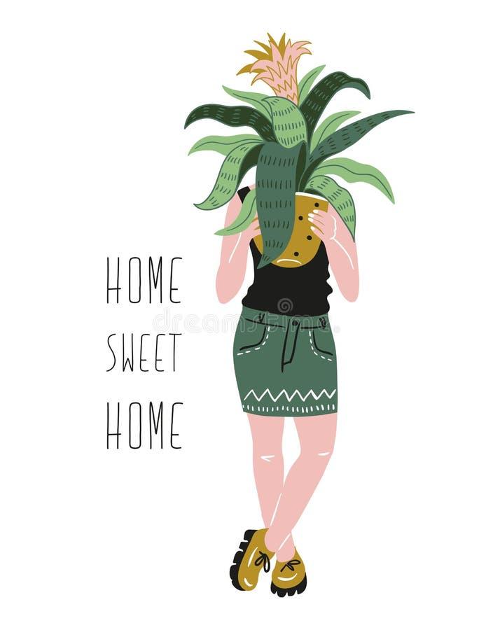 Plakat z młodą kobietą kultywuje domowe tropikalne rośliny i tekst - ` cukierki domu Domowy ` Ręka rysująca wektorowa ilustracja ilustracji