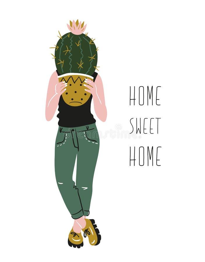 Plakat z młodą kobietą kultywuje domowe tropikalne rośliny i tekst - ` cukierki domu Domowy ` Ręka rysująca wektorowa ilustracja royalty ilustracja