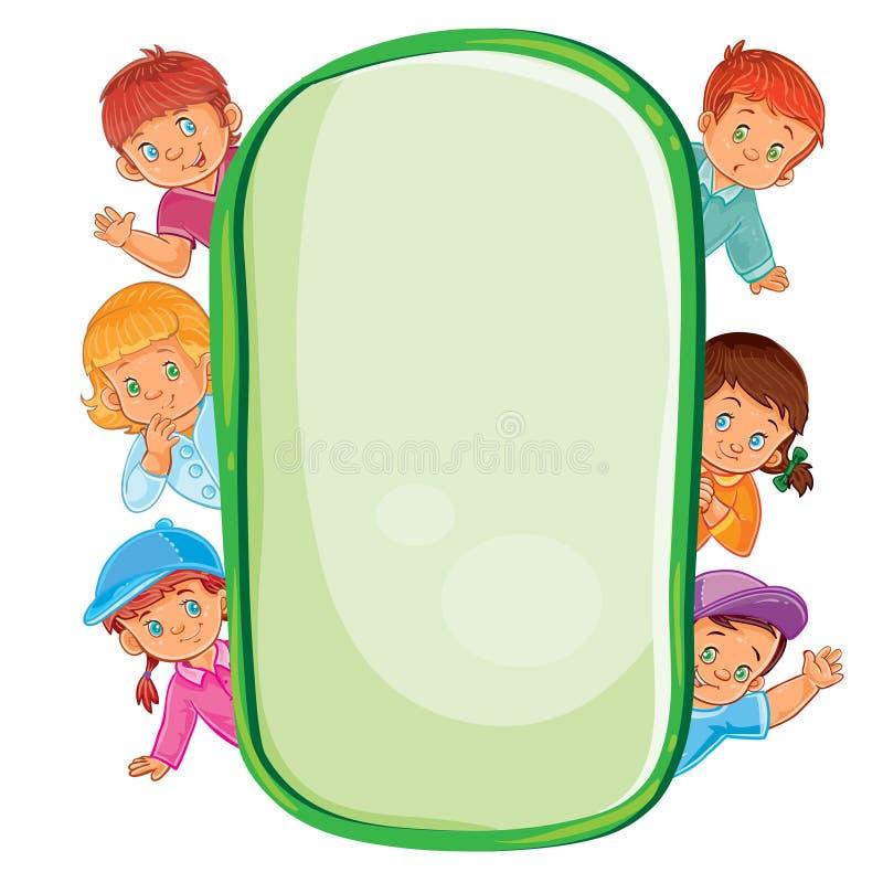 Plakat z młodymi dziećmi, patrzeje z ramy royalty ilustracja