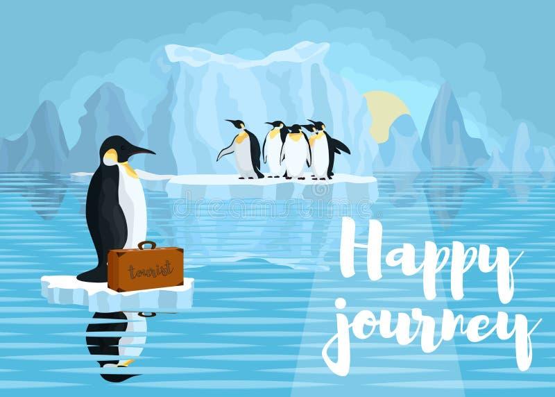 Plakat z pingwinami walka przeciw globalnemu nagrzaniu pl fotografia stock