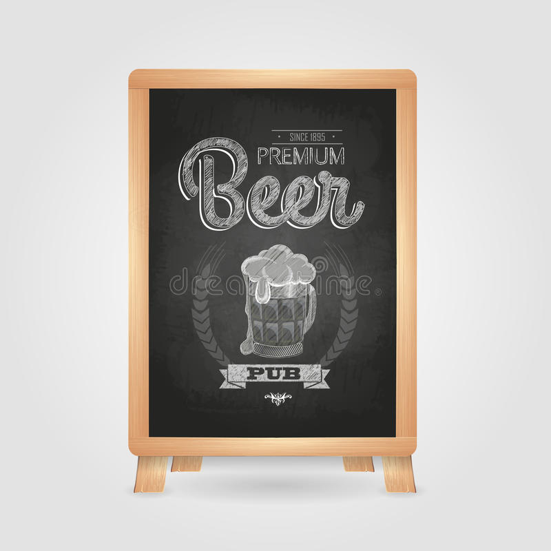 Plakat Z Piwem Kredowy Rysunek Ilustracja Wektor